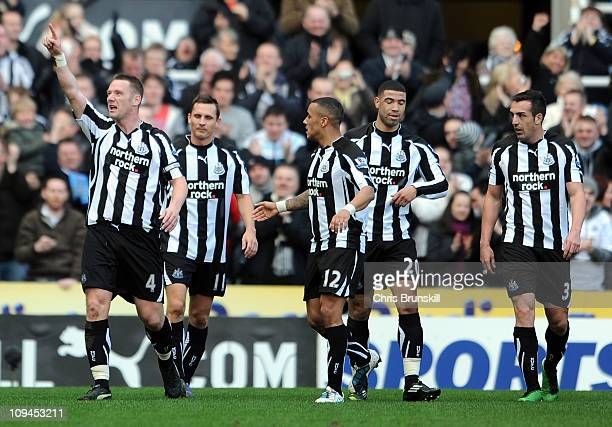Kevin Nolan of Newcastle United celebrates scoring the opening goal during the Barclays Premier League match between Newcastle United and Bolton...