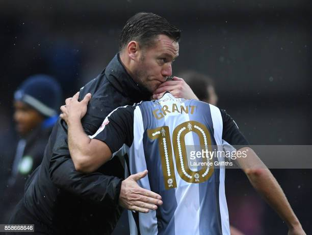 Kevin Nolan of Notts County congratulates Jorge Grant after the Sky Bet League Two match between Notts County and Forest Green Rovers at Meadow Lane...
