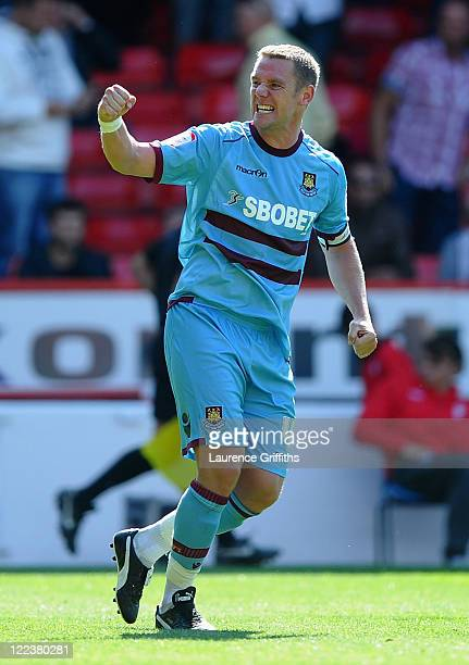 Kevin Nolan of West Ham celebrates during the npower Championship match between Nottingham Forest and West Ham United at the City Ground on August 28...