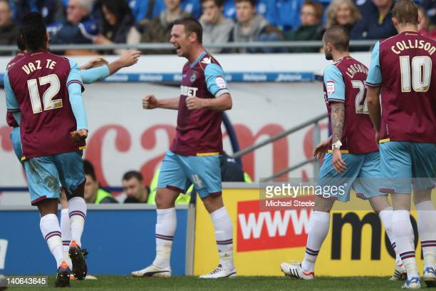 Kevin Nolan of West Ham United celebrates scoring during the npower Championship match between Cardiff City and West Ham United at the Cardiff City...