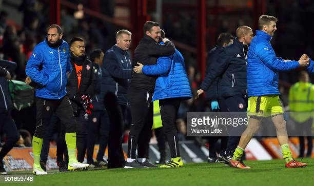 Kevin Nolan Player/Manager of Notts County congratulates his players after The Emirates FA Cup Third Round match between Brentford and Notts Country...