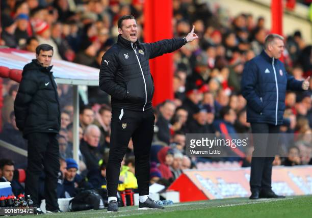 Kevin Nolan Player/Manager of Notts County gives his team instructions during The Emirates FA Cup Third Round match between Brentford and Notts...