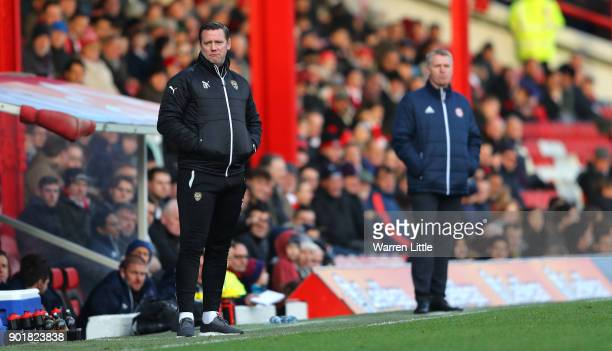 Kevin Nolan Player/Manager of Notts County looks on during the The Emirates FA Cup Third Round match between Brentford and Notts Country at Griffin...