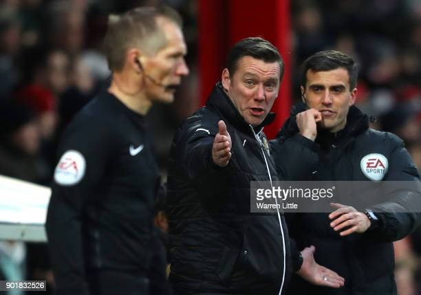 Kevin Nolan Player/Manager of Notts County reacts during the The Emirates FA Cup Third Round match between Brentford and Notts Country at Griffin...