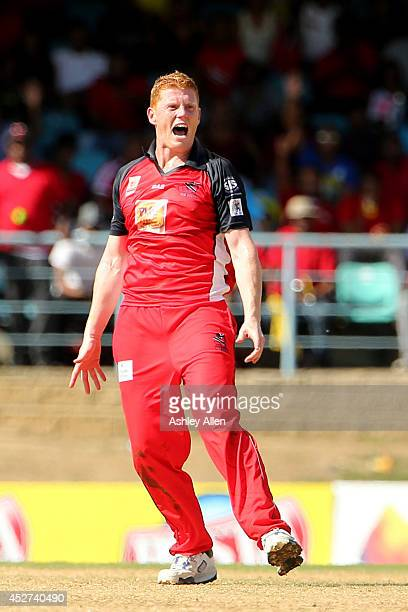 Kevin O'Brien celebrates during a match between The Trinidad and Tobago Red Steel and Jamaica Tallawahs as part of the week 3 of Caribbean Premier...