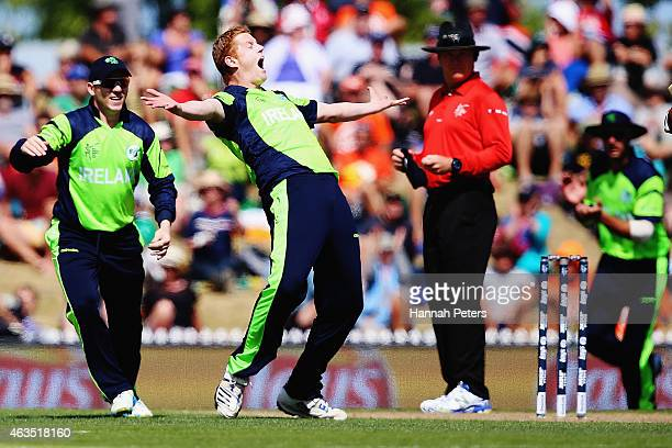 Kevin O'Brien of Ireland celebrates after dismissing Dwayne Smith of West Indies during the 2015 ICC Cricket World Cup match between the West Indies...