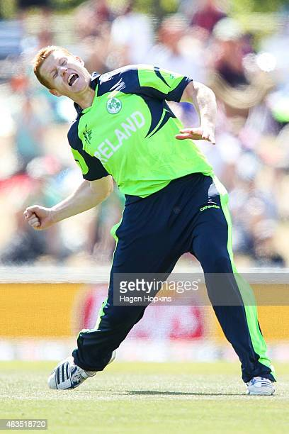 Kevin O'Brien of Ireland celebrates after taking the wicket of Dwayne Smith of the West Indies during the 2015 ICC Cricket World Cup match between...