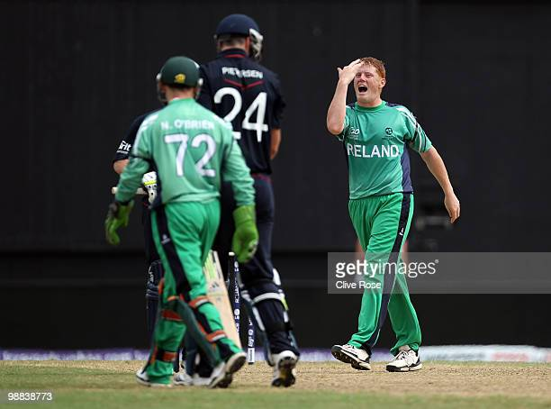 Kevin O'Brien of Ireland celebrates after taking the wicket of Kevin Pieteresen of England during the ICC T20 World Cup Group D match between England...