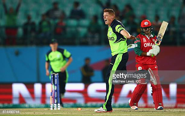 Kevin O'Brien of Ireland celebrates bolwing Zeeshan Maqsood of Oman during the ICC Twenty20 World Cup match between Ireland and Oman at the HPCA...