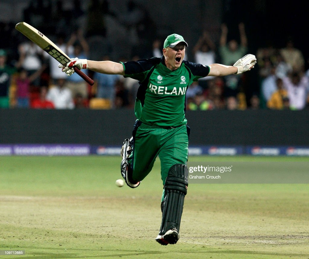 Kevin O'Brien of Ireland celebrates scoring a century batting against England in the Group B 2011 ICC World Cup match between England and Ireland at M. Chinnaswamy Stadium on March 2, 2011 in Bangalore, India.