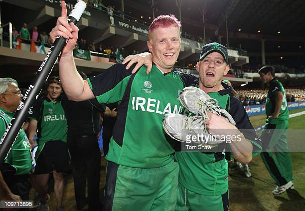 Kevin O'Brien of Ireland celebrates with Niall O'Brien of Ireland at the end of the match during the 2011 ICC World Cup Group B match between England...