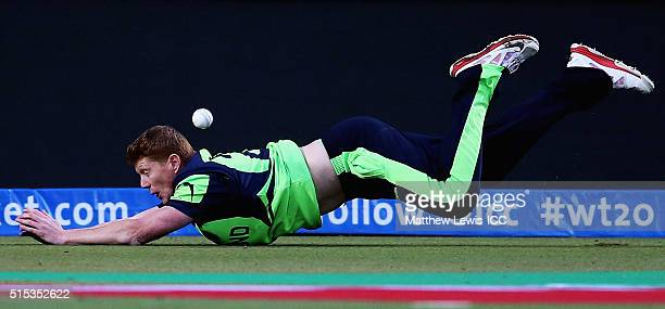 Kevin O'Brien of Ireland drops a catch during the ICC World Twenty20 India 2016 match between Netherlands and Ireland at the HPCA Stadium on March 13...