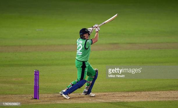 Kevin O'Brien of Ireland hits out during the Third One Day International between England and Ireland in the Royal London Series at Ageas Bowl on...