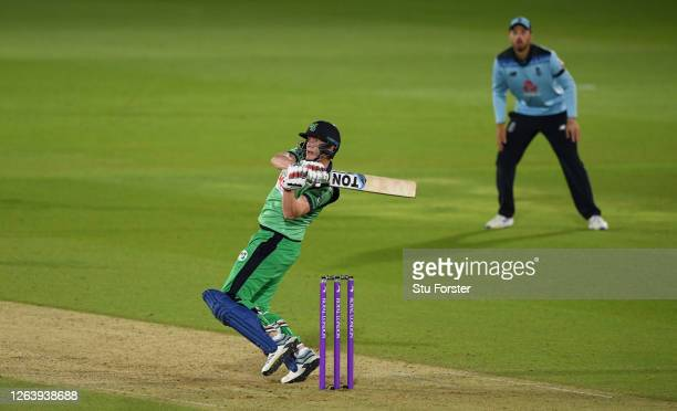 Kevin O'Brien of Ireland hits the winning runs during the Third One Day International between England and Ireland in the Royal London Series at Ageas...