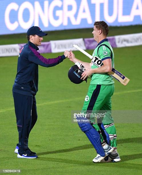 Kevin O'Brien of Ireland interacts with Eoin Morgan of England after victory in the Third One Day International between England and Ireland in the...