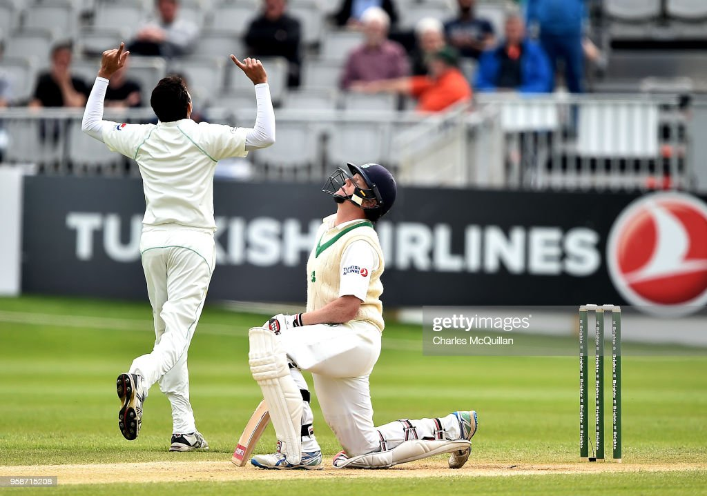 Kevin O'Brien with a stand of 118 runs loses his wicket on his opening ball during the fifth day of the international test cricket match between Ireland and Pakistan on May 15, 2018 in Malahide, Ireland.