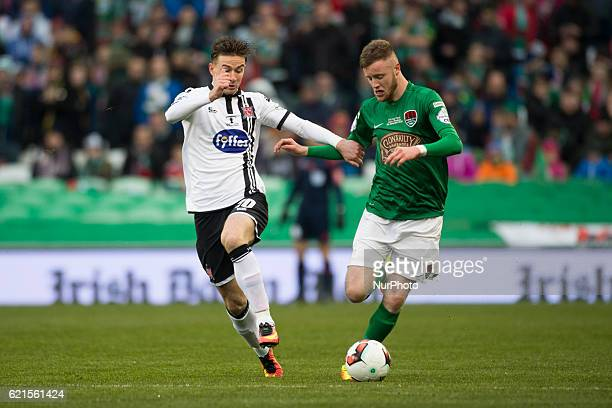 Kevin O'Connor of Cork and Ronan Finn of Dundalk fight for the ball during the Irish Daily Mail FAI Senior Cup Final 2016 match between Cork City and...