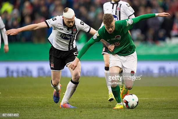 Kevin O'Connor of Cork fights for the ball with Chris Shields of Dundalk during the Irish Daily Mail FAI Senior Cup Final 2016 match between Cork...