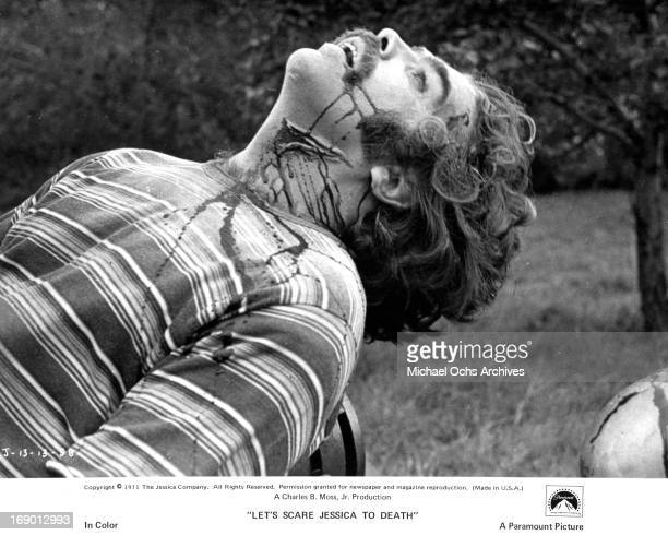 Kevin O'Connor with his throat slain and bleeding profusely in a scene from the film 'Let's Scare Jessica to Death' 1971