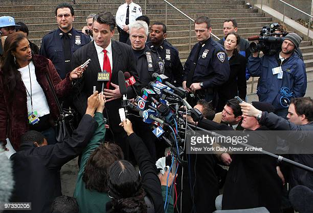 Kevin O'Donnell attorney for Darryl Littlejohn speaks to the media outside Queens Supreme Court after his client made an appearance before a judge...