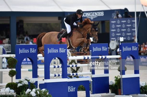 Kevin of France, riding Ayade de Septon et HDC, during the riding competition PRIX JULIUS BEAR in the Beach of Pampelonne on June 2, 2017 in Saint...