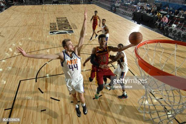 Kevin Olekaibe of the Canton Charge drives to the basket against the Northern Arizona Suns during the GLeague Showcase on January 12 2018 at the...
