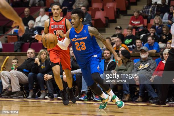 Kevin Olekaibe of the Canton Charge handles the ball against the Windy City Bulls on December 15 2017 at the Canton Memorial Civic Center in Canton...