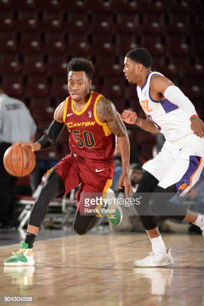 Kevin Olekaibe of the Canton Charge handles the ball against the Northern Arizona Suns during the GLeague Showcase on January 12 2018 at the Hershey...