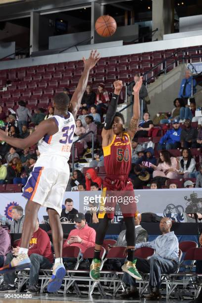 Kevin Olekaibe of the Canton Charge shoots the ball against the Northern Arizona Suns during the GLeague Showcase on January 12 2018 at the Hershey...