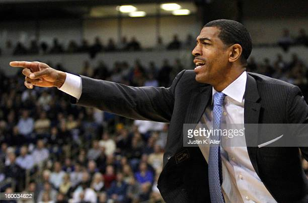 Kevin Ollie head coach of the Connecticut Huskies yells against the Pittsburgh Panthers at Petersen Events Center on January 19, 2013 in Pittsburgh,...