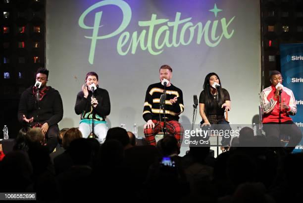Kevin Olusola Mitch Grassi Scott Hoying Kirstin Maldonado and Matt Sallee of Pentatonix perform on stage as SiriusXM presents Pentatonix live on...