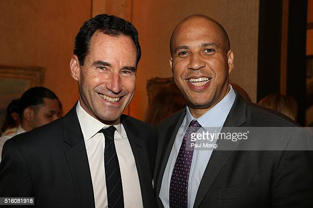 Kevin OÕMalley and Sen Cory Booker attend the ELLE and Hugo Boss Women in Washington Power List Dinner at the Kreeger Museum on March 16 2016 in...