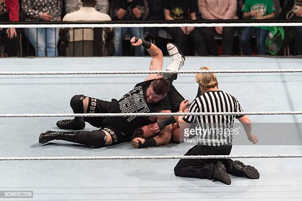 Kevin Owens competes in the ring against Dolph Ziggler at the Road to WrestleMania at the Lanxess Arena on February 11 2016 in Cologne Germany