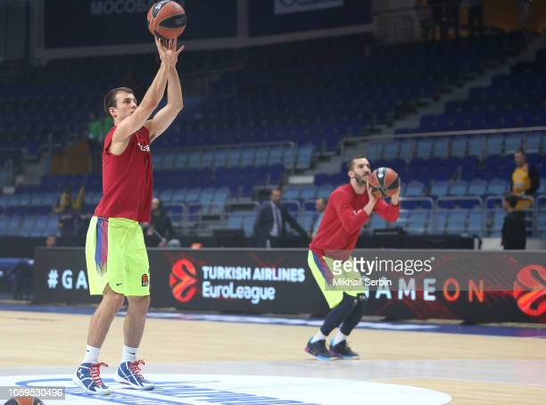 Kevin Pangos #3 and Pau Ribas #5 of FC Barcelona Lassa before the 2018/2019 Turkish Airlines EuroLeague Regular Season Round 6 game between Khimki...