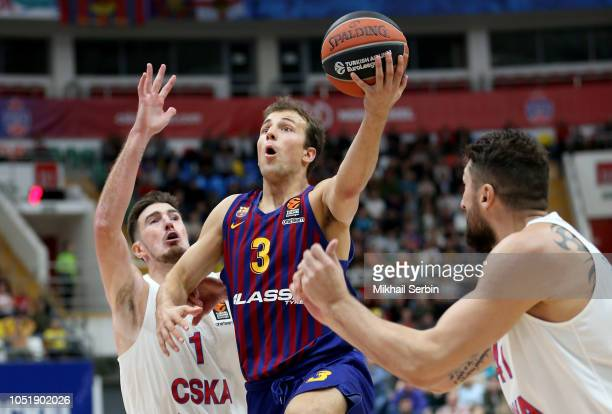 Kevin Pangos #3 of FC Barcelona Lassa competes with Nando de Colo #1 of CSKA Moscow in action during the 2018/2019 Turkish Airlines EuroLeague...