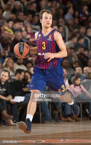 Kevin Pangos #3 of FC Barcelona Lassa in action during the 2018/2019 Turkish Airlines EuroLeague Regular Season Round 15 game between FC Barcelona...