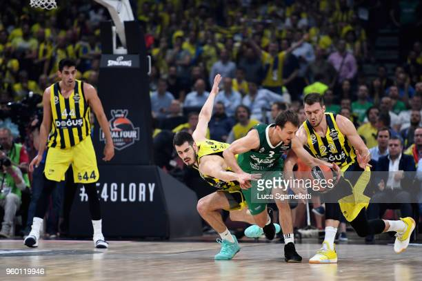 Kevin Pangos #3 of Zalgiris Kaunas during the 2018 Turkish Airlines EuroLeague F4 Semifinal B game between Fenerbahce Dogus Istanbul v Zalgiris...