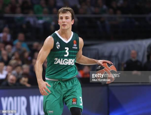 Kevin Pangos #3 of Zalgiris Kaunas in action during the 2017/2018 Turkish Airlines EuroLeague Regular Season Round 4 game between Zalgiris Kaunas and...