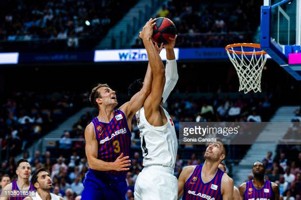 Kevin Pangos and Gustavo Ayon during the Liga Endesa match between Real Madrid and FC Barcelona Lassa at Wizink Center on March 24 2019 in Madrid...
