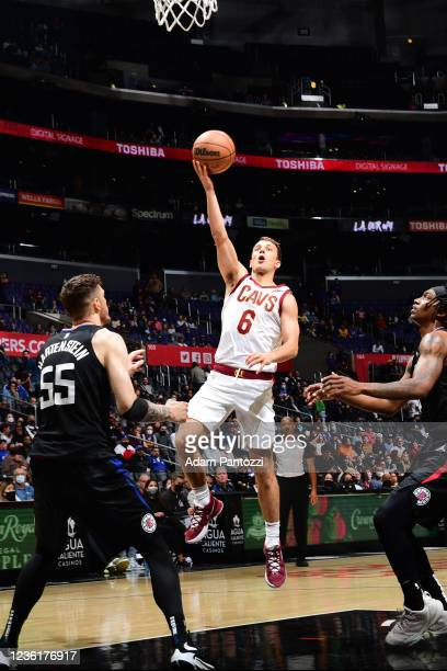 Kevin Pangos of the Cleveland Cavaliers drives to the basket against the LA Clippers on October 27, 2021 at STAPLES Center in Los Angeles,...