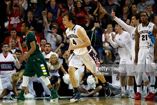 Kevin Pangos of the Gonzaga Bulldogs reacts after making a shot in the second half of the game against the North Dakota State Bison during the second...