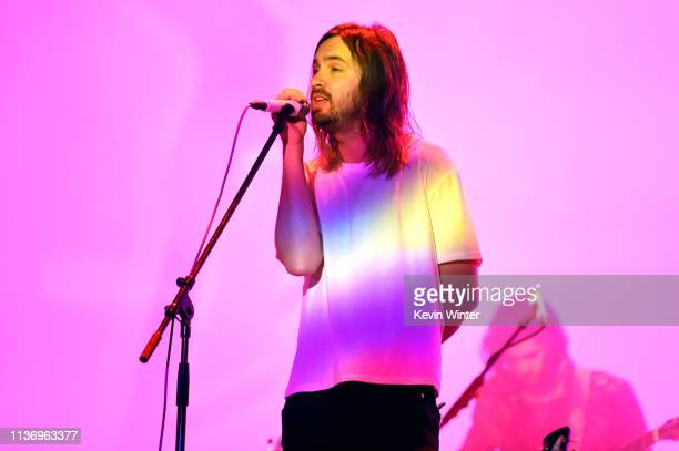 Kevin Parker of Tame Impala performs at Coachella Stage during the 2019 Coachella Valley Music And Arts Festival on April 13 2019 in Indio California