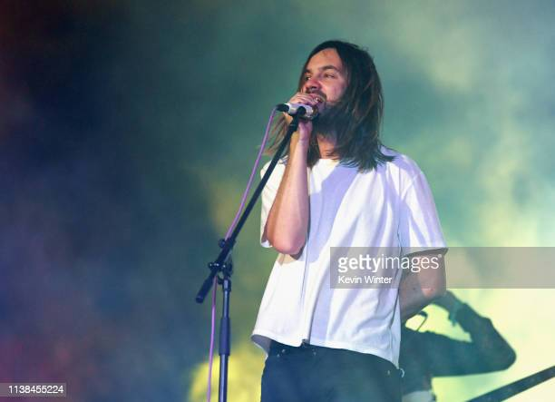 Kevin Parker of Tame Impala performs at Coachella Stage during the 2019 Coachella Valley Music And Arts Festival on April 20 2019 in Indio California