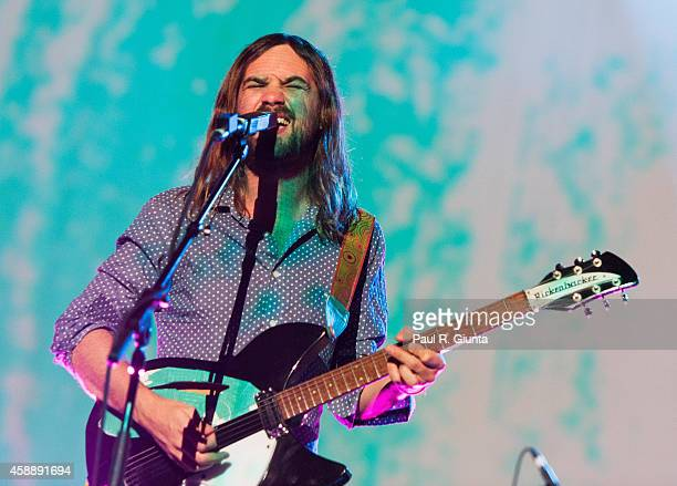 Kevin Parker of Tame Impala performs on stage at The Shrine Auditorium on November 12 2014 in Los Angeles California