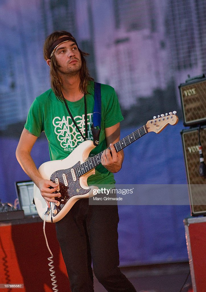 Kevin Parker of Tame Impala performs on stage during the 2011 Sunset Sounds music festival at the Brisbane Botanical Gardens and River Stage on January 5, 2011 in Brisbane, Australia.