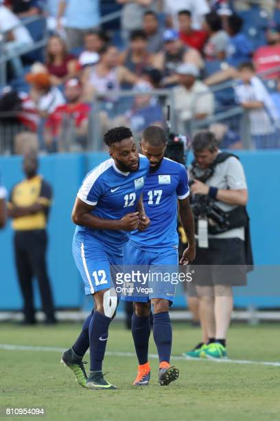 Kevin Parsemain of Martinique celebrates after scoring the first goal of his team during the Group B match between Martinique and Nicaragua as part...