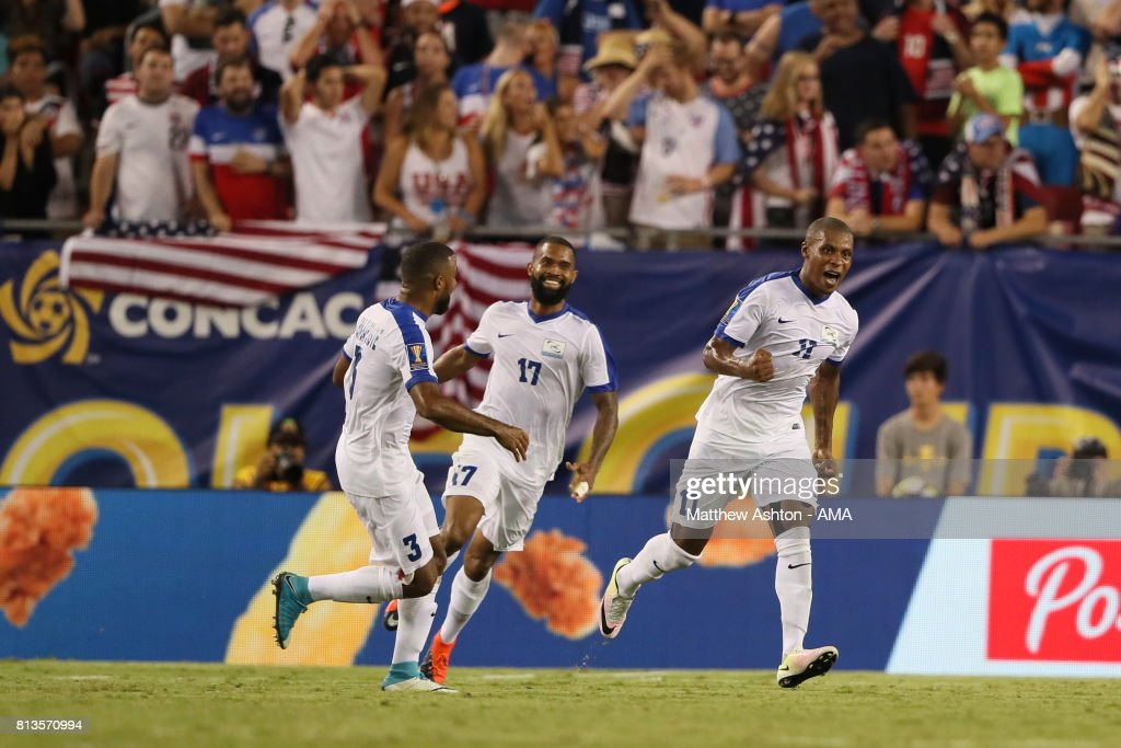 Kevin Parsemain of Martinique celebrates scoring a goal to make the score 2-2 during the 2017 CONCACAF Gold Cup Group B match between the United States and Martinique at Raymond James Stadium on July 12, 2017 in Tampa, Florida.