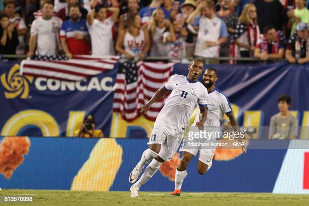 Kevin Parsemain of Martinique celebrates scoring a goal to make the score 22 with Johan Audel during the 2017 CONCACAF Gold Cup Group B match between...