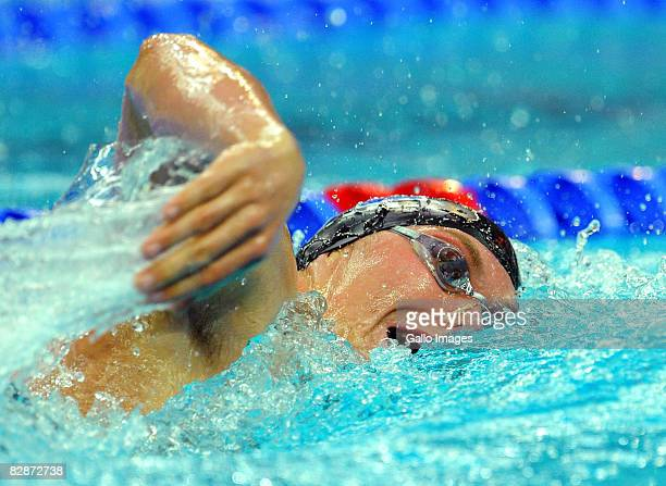 Kevin Paul competes in the 400m Freestyle S10 Swimming Event at the National Aquatics Center during day nine of the 2008 Paralympic Games on...