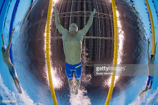 Kevin Paul of South Africa competes in the Men's 100m Breaststroke SB9 Final on day 1 of the Rio 2016 Paralympic Games at the Olympic Aquatics...